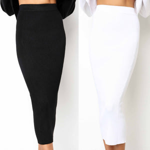 LOSSKY Knitted 2018 Autumn Bodycon Long Skirt Sexy Black White High Waist Tight Women Maxi Elegant Party Club Wear Pencil Skirts-geekbuyig
