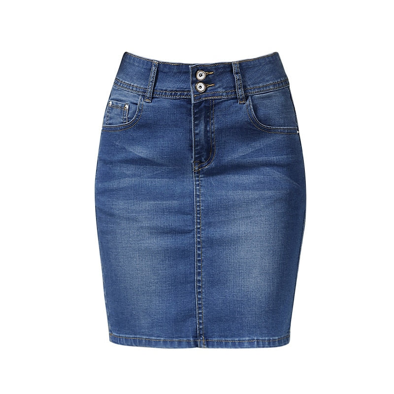 2018 Female Skirts Denim Plus Size Short Skirts Womens Bandage Mini Skirt Pencil Sexy High Waist Jeans Skirt Summer Saia Jupe-geekbuyig