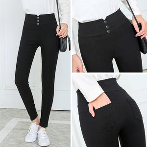 Women's black Pants Pencil Trousers 2018 Spring Fall Button pocke Pants Women Slim Ladies Jean Trousers Female High Waist Pants-geekbuyig