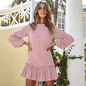 2018 Autumn Winter Women Mini Dress Sexy O Neck Long Sleeve Ruffles Short Dresses Casual Streetwear Dress Vestidos-geekbuyig