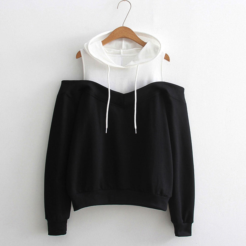 USPS Stylish Hoodies Bts Patchwork feitong Womens Off Shoulder Long Sleeve Hoodie Sweatshirt Hooded Pullover Tops Uptops Mujer-geekbuyig