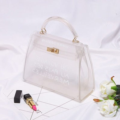 Clear Transparent PVC Shoulder Bags Women Candy Color Women Jelly Bags Purse Solid Color Handbags Large Capacity Crossbody Bag-geekbuyig