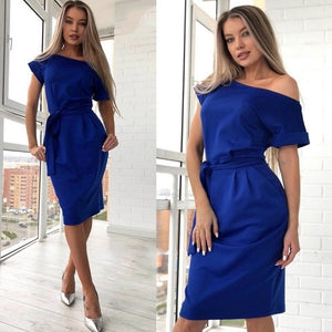 2018 Summer Fashion Casual Ladies Knee-Length Dress Sexy Off Shoulder Slash neck Sashes Dresses Women Bodycon Vintage Vestidos-geekbuyig