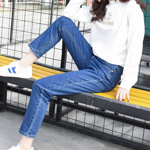 2018 Winter Ripped Jeans Woman High Waist Boyfriend Jeans For Women Plus Size Blue Black White Denim Mom Jeans Pants Trousers-geekbuyig