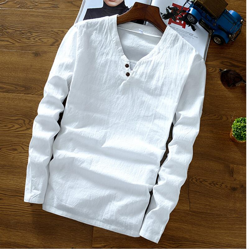 2018 Autumn men's long sleeve mandarin collar cotton linen shirts,Plus size M-6XL 7XL Spring linen blouse Black blue white shirt-geekbuyig