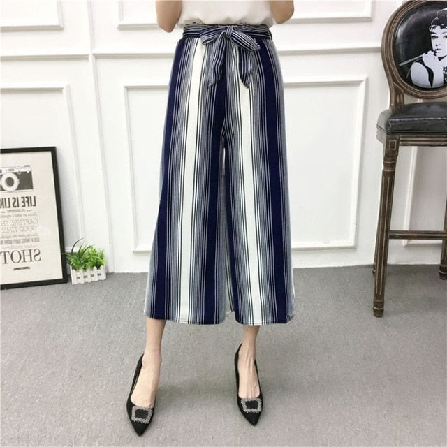 ETOSELL Women New Summer Wide Leg Pants Casual Loose High Elastic Waist Harem Pants Loose Belt Striped Elasticated Trousers-geekbuyig