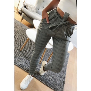 New Plaid High Waist Harem Pants Women Summer Style Ankle-length Pants Female Office Lady Gray Striped Trousers-geekbuyig