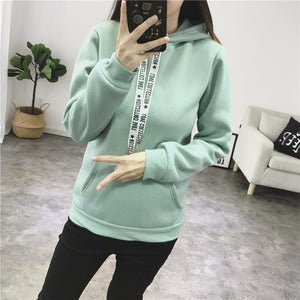 tide2018new Women's Hoodie Tops Plush Warm Casual Loose Solid Color Pocket Women's Harajuku Style Women's Sweatshirt M-XXXL-geekbuyig