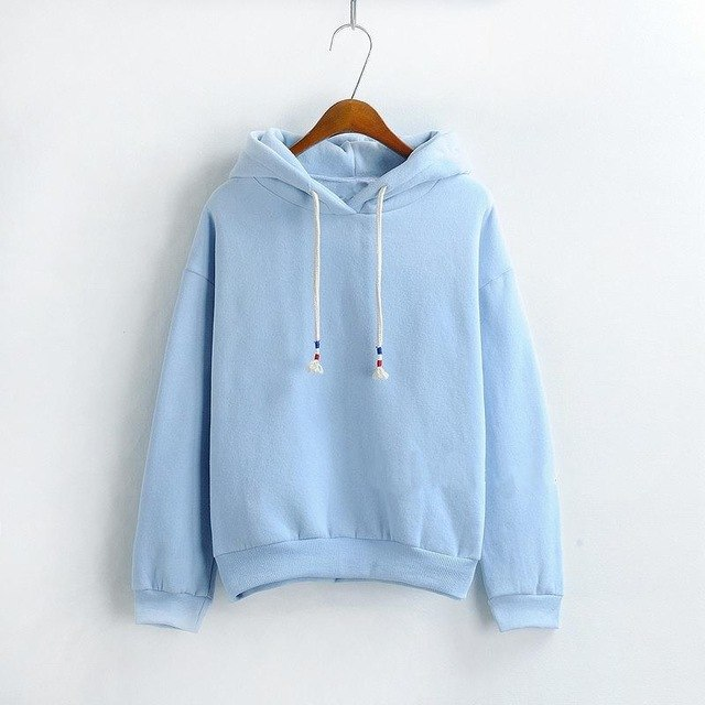 2018 New Women's Solid Color Hoodies Fashion Casual Loose Top Thicken Pullover Women's Clothing Korean Version Sweatshirts-geekbuyig