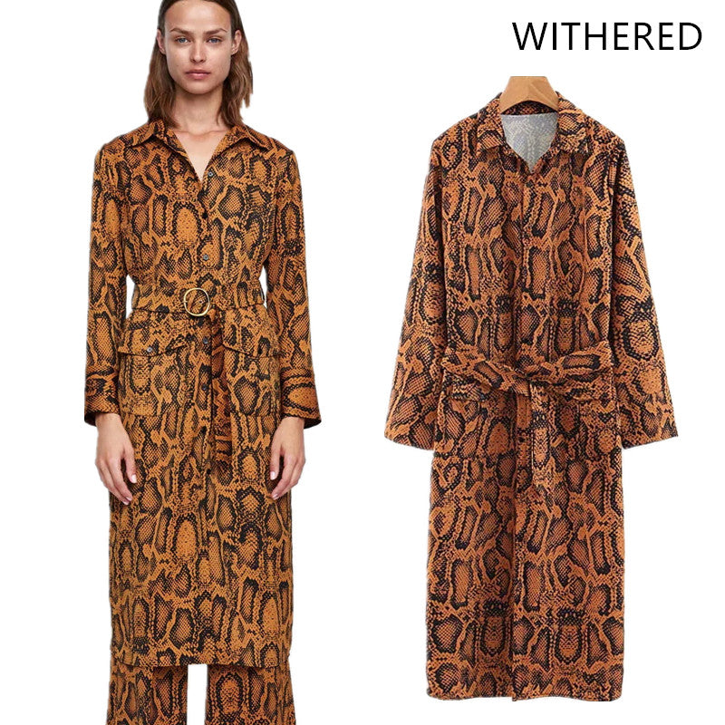 Withered 2018 vestidos feminina dress england style print Snake skin sashes ring pockets regular midi dress vestido women 0802-geekbuyig