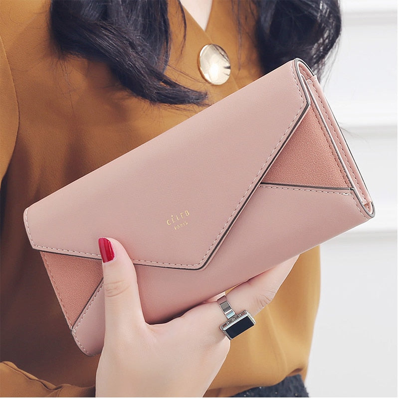 New Style Envelope Designer Clutch Wallets For Women Hasp Pocket To Coin Card Holder Female Purses Long Wallet Ladies-geekbuyig