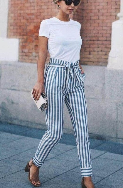NEW Women Skinny Patchwork Striped Pants Women Pockets OL Style Work Trousers 2018 Spring Mid Waist Pants-geekbuyig
