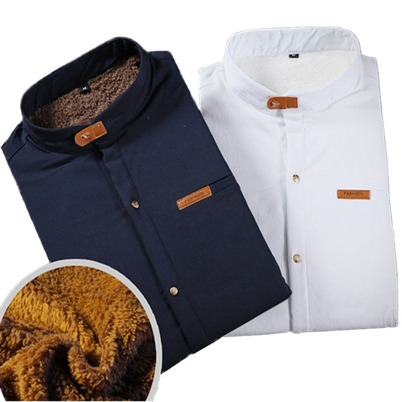 Men's 2018 New Winter Stand collar Casual Solid color Fleece Corduroy Wool Warm Shirt fashion Male Long Sleeve Shirts blouses-geekbuyig