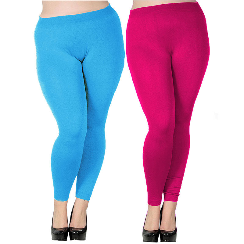 AZUE Women's Plus Size Modal Seamless Leggings Full Length Stretchy Basic Ankle Leggings Solid Color Long Legging Pants-geekbuyig