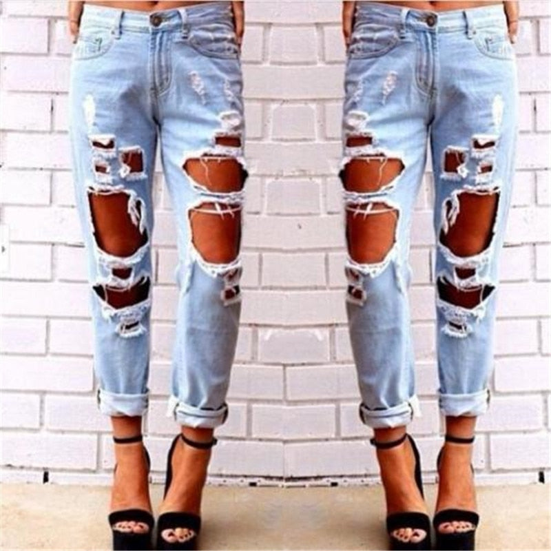 Fashion Womens Destroyed Jeans Ripped Denim Pants Broken Boyfriend Jeans Long Pencil Trousers New 2018 Summer Big Hole Trousers-geekbuyig