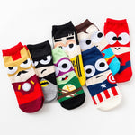 Hot Sale! Women Socks Cotton Superman SpiderMan Captain America Avenge Men Male Short Sock Colorful Breathable Cartoon Socks-geekbuyig