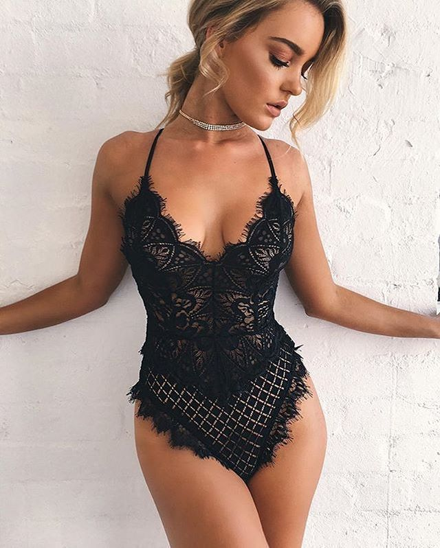 2018 summer short Deep v neck lace up sexy bodysuit black white beige red hollow out Skinny elegant jumpsuit feminino overalls-geekbuyig