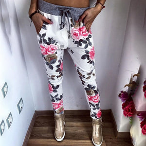 New Style Fashion Women Casual Pants Flower Printed Womens Harem Pant 2018 Summer Capris Trousers-geekbuyig
