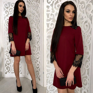 2018 New Fashion Lace Stitching dress Autumn O-neck 3/4 Sleeves Green Wine red dresses Office shirt dress Vestidos-geekbuyig