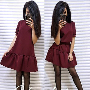 2018 Fashion Autumn Women Solid Party Dress Short Sleeve O-neck Casual A-Line Dress Women Sexy Beach Mini Dresses Vestidos-geekbuyig