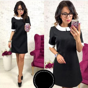 2018 New Spring Fashion Women Office white collar dress Vestidos Summer Short sleeve Casual Party Straight Preppy style dresses-geekbuyig