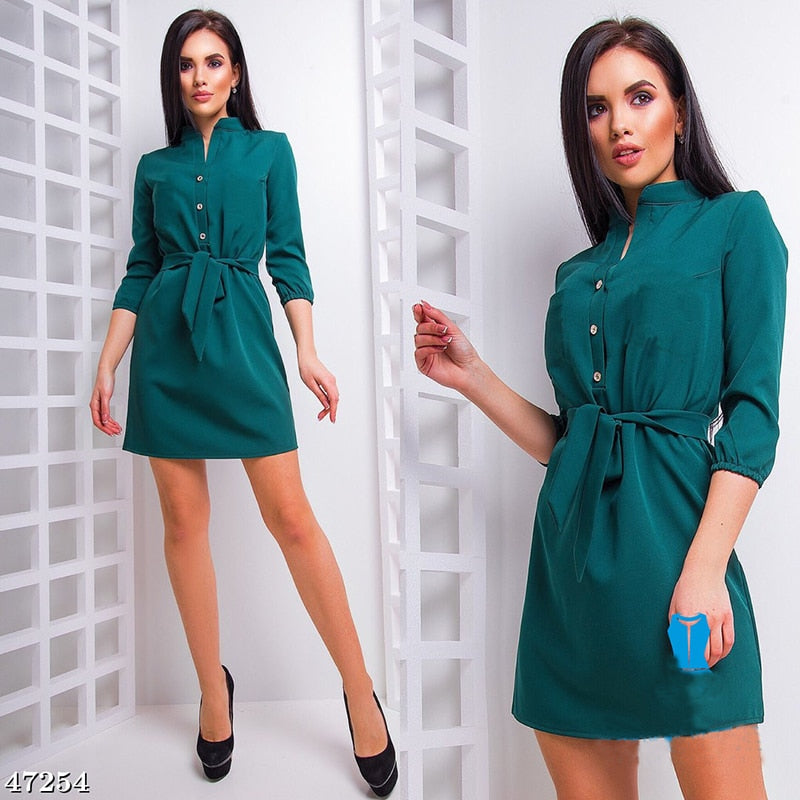 2018 Summer Women Fashion Stand 3/4 Sleeves Straight Dress Elegant Loose Belt Casual Shirt Dresses Ladies Plaid Vestidos-geekbuyig