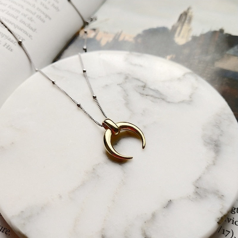 Sterling 925 silver moon pendant necklace gold fashion wild Crescent choker necklace for women birthday festival jewelry gift-geekbuyig