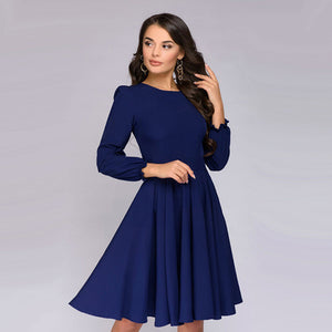 Women Elegant Vintage A Line Dress Ladies Long Sleeve O Neck Party Dress 2018 Autumn New Arrival Office Lady Knee-Length Dress-geekbuyig
