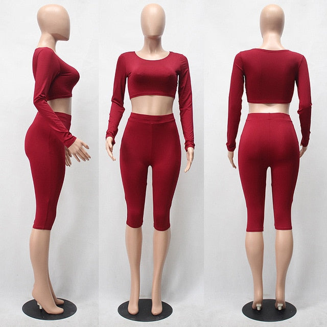 SIBYBO Sexy Two Pieces Rompers Womens Jumpsuit 2018 Autumn Knee Length Bodaycon Playsuit Solid Long Sleeve Sport Suits Bodysuit-geekbuyig