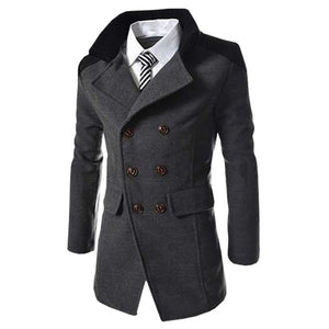 Autumn Long Wool Coat Men Fashion Turn-down Collar Wool Blend Double Breasted Pea Coat Jacket Men Brand Overcoats-geekbuyig