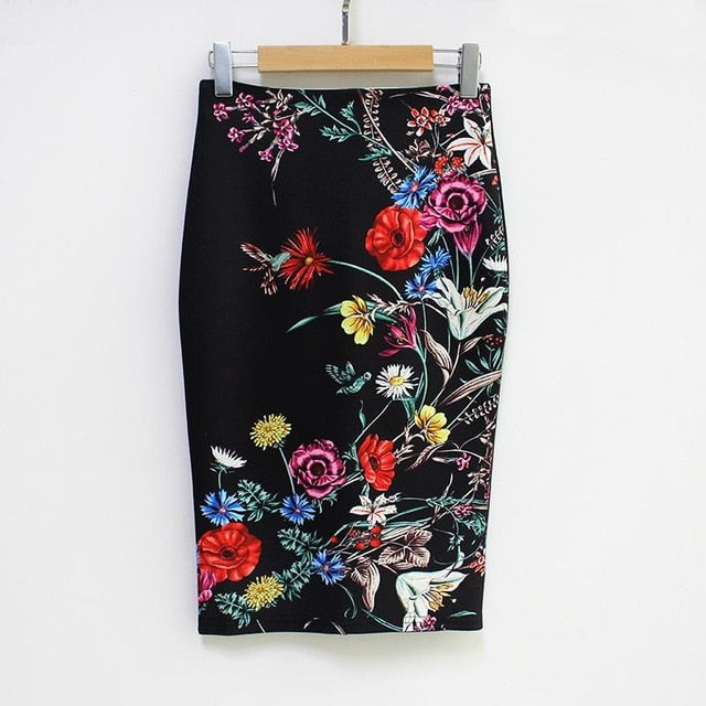 Pencil Wrap Office Skirts Women's Floral High Waist Skirts Vintage Elegant Print Midi Skirt 2018 Summer Wholesale Dropshipping-geekbuyig