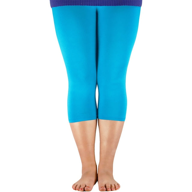 AZUE Women's 3/4 length Leggings Bamboo Fiber Plus Size Capri Legging High Stretchy Leggings Pants Basic Leggings-geekbuyig