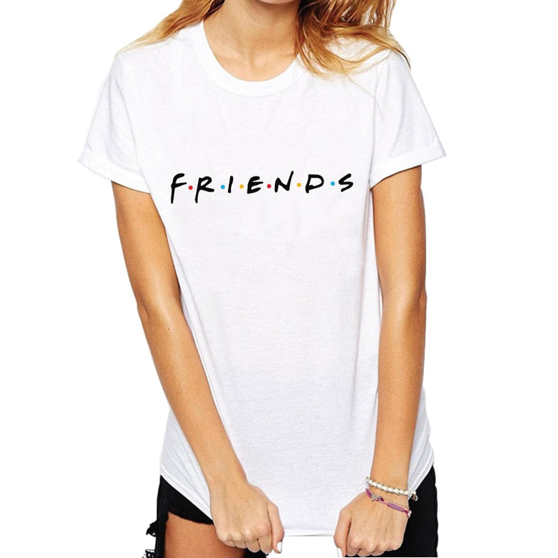 Womens Fashion Casual Tops Letter Printed T-shirt Funny Casual Pullovers Plus Size Best Friends Tv T Shirt Show Tee Shirt Femme-geekbuyig