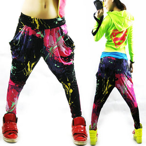 New Fashion Brand Jazz harem women hip hop pants dance doodle spring and summer loose neon patchwork candy colors sweatpants-geekbuyig