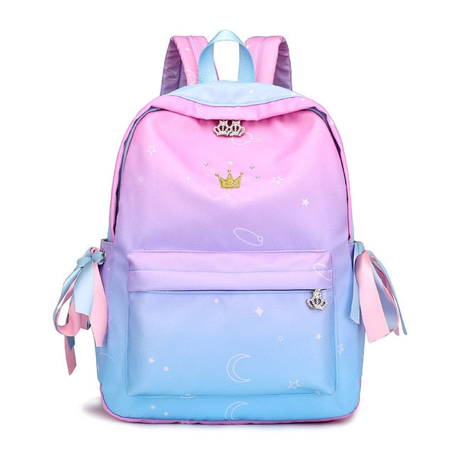 2018 New Preppy Style Ribbon Backpack Crown Embroidery Gradient School Backpacks for Teenage Girls Schoolbag Mochilas Feminina-geekbuyig