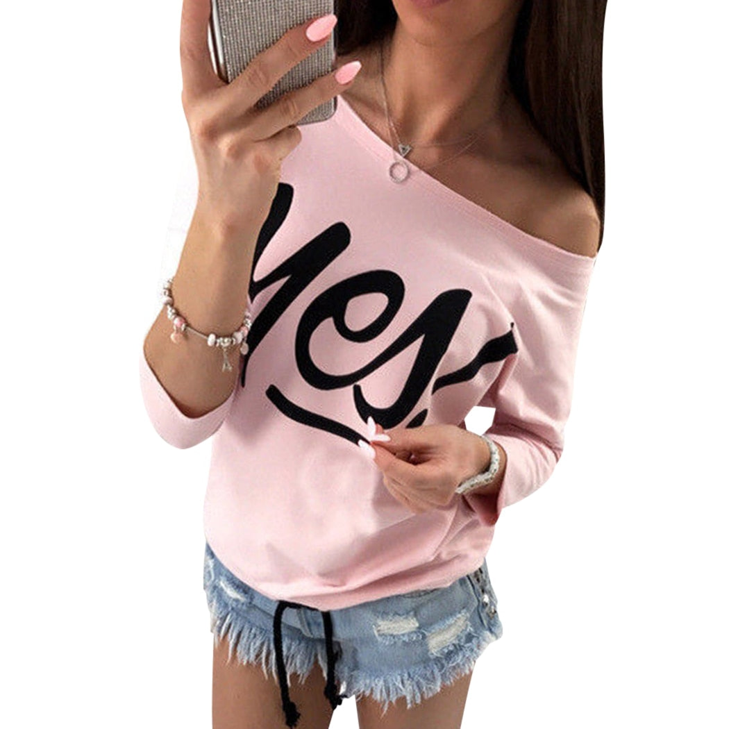 New Women Hoodies Casual Candy Color One Shoulder Printing Sweatshirt Spring Autumn High Quality Kawaii Ladies Pullovers Moletom-geekbuyig