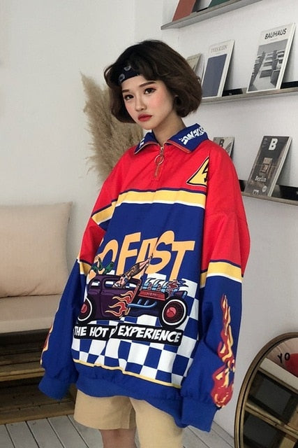 Women Hoodies Autumn Winter Harajuku Sweatshirts Cartoon Patchwork Letter Print Loose Feminino Harajuku Pullover WHDM02-geekbuyig
