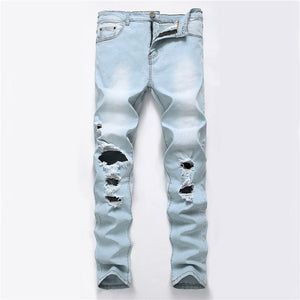 2018 New Fashion Ripped Jeans Men Patchwork Hollow Out Printed Beggar Cropped Pants Man Cowboys Demin Pants Male Dropshipping-geekbuyig