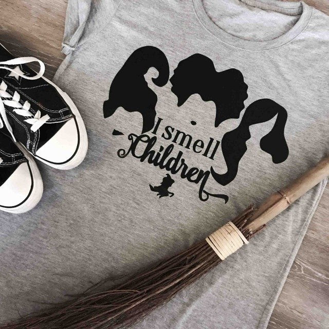 I Smell Children Halloween funny graphic women fashion Witch broom tees grunge tumblr holiday gift slogan horror kawaii shirts-geekbuyig