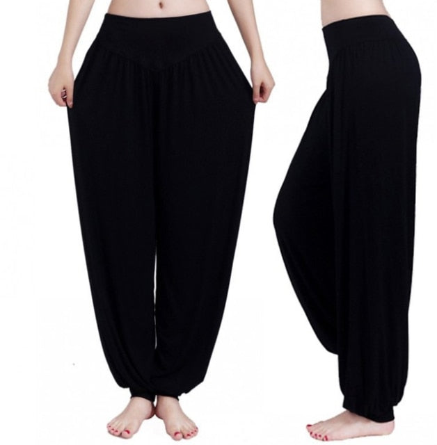 New Women Casual Harem Pants High Waist Dance Pants Woman Fashion Wide Leg Loose Trousers Bloomers Pants Womens Plus Size-geekbuyig