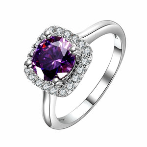 New Trendy 2018 Hot Sale Wedding Rings Natural Amethyst Ring For Women Fashion 925 Silver Jewelry With Gemstone Party Gift-geekbuyig