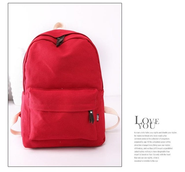 2018 Canvas Pure Color Backpack Fashion Adolescent Girl Backpack Female Best Women Backpack Rucksack Mochila Bagpack Travel Bag-geekbuyig