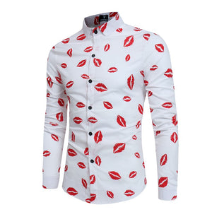 2017 Spring Autumn Features Shirts Men Casual Black and white lip print New Arrival Long Sleeve Casual Slim Fit Male Shirts-geekbuyig