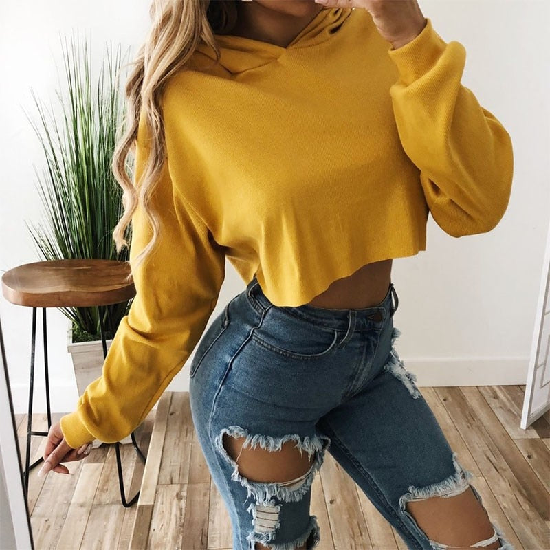 DeRuiLaDy 2018 Autumn Winter New Women Hoodies Sweatshirt Sexy Long Sleeve Lace Up Loose Hooded Casual Crop Top Sudaderas Mujer-geekbuyig