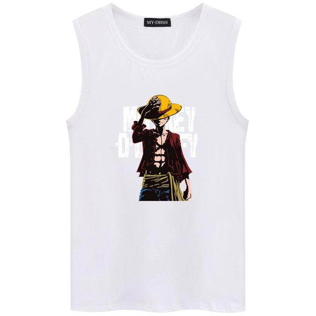 Hot Anime One Piece Monkey.D.Luffy Cartoon Cotton High Quality Undershirt Bodybuilding Fitness Sleeveless Vest Mens Tank Tops-geekbuyig