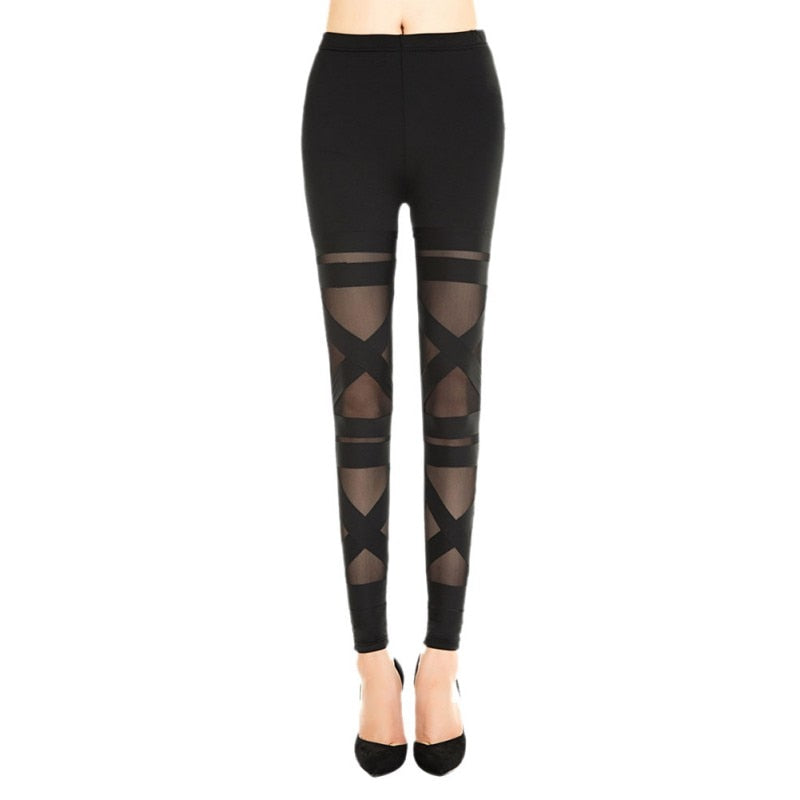 Fashion Mesh Hollow Out Stretch Leggings Womens Sexy Bandage Slim Ladies Pants Trousers-geekbuyig
