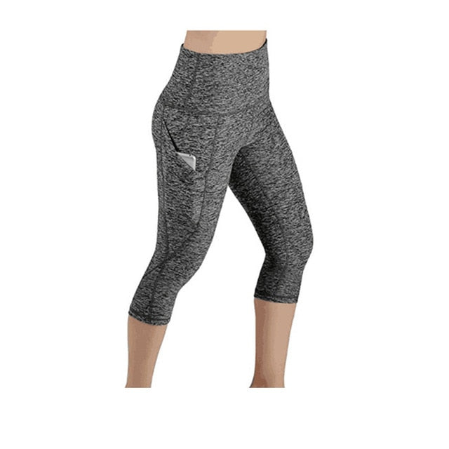 Women Legging Ptachwork Mesh Black Capri Leggings Plus Size Sexy Fitness Sporting Pants with Pocket Mid-Calf Trousers jegging-geekbuyig