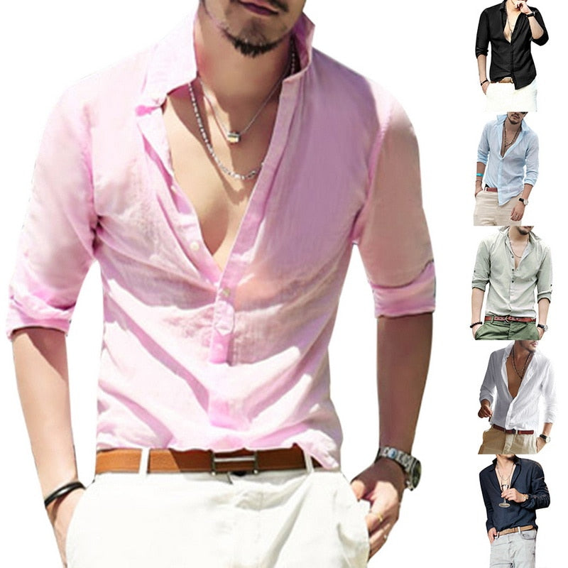 Laamei Casual Washed Linen Shirt 2018 Men's Spring And Autumn New Solid Color Slim Comfortable Long-sleeved Shirt-geekbuyig