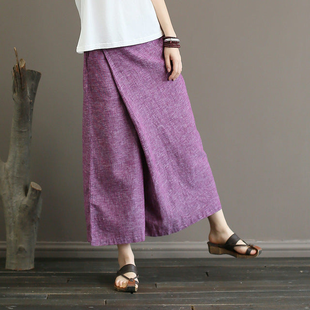 Johnature Solid Color Elastic Mid Waist New Skirt Pants 2018 New Summer Vintage Loose Cotton Linen Ankle-Length Wide Leg Pants-geekbuyig