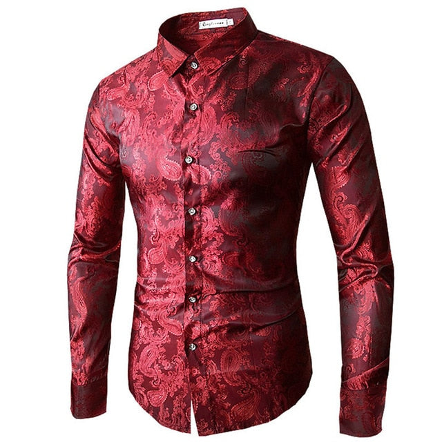 High quality 2018 Male Long Sleeve Shirts Red Gold Purple Blue men's embroidery dress shirt Fashion Slim Wedding Party Bussiness-geekbuyig